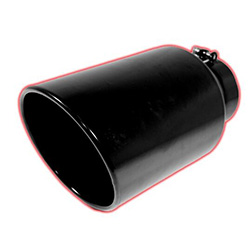 "Flo Pro 6"" Rolled Angle Cut Exhaust Tip - Black Ceramic Coated"